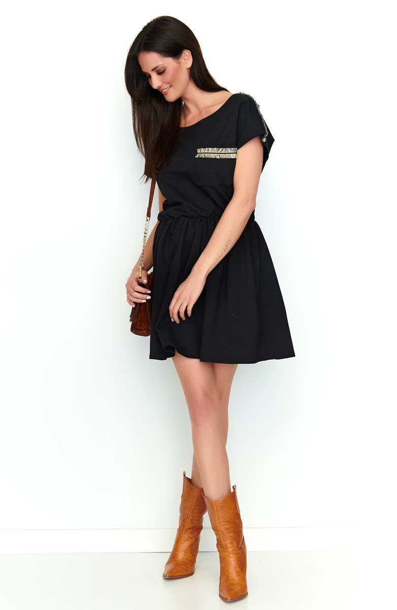 Black Short Boho Style Dress With Decorative Insets