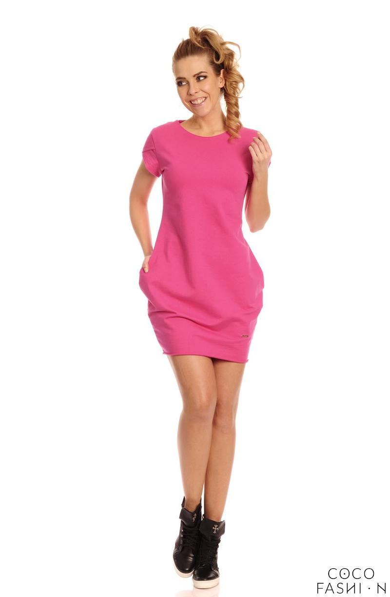Fuchsia Casual Mini Dress with Pockets