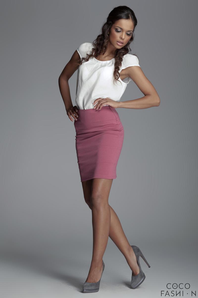 horizantal-seam-short-pencil-pink-skirt