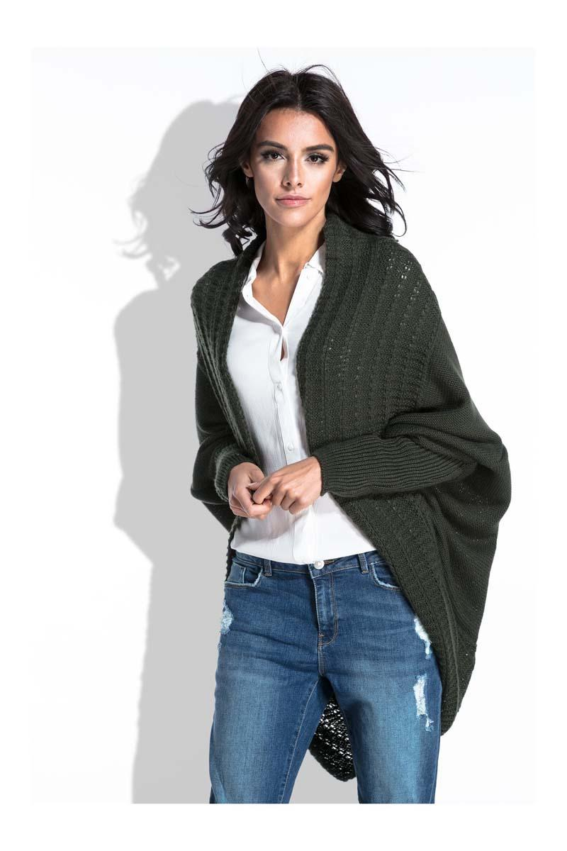 Olive Green Bat Sleeves Cardigan