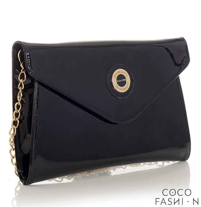 Black Patent Elegant Clutch Bag with Chain от cocofashion