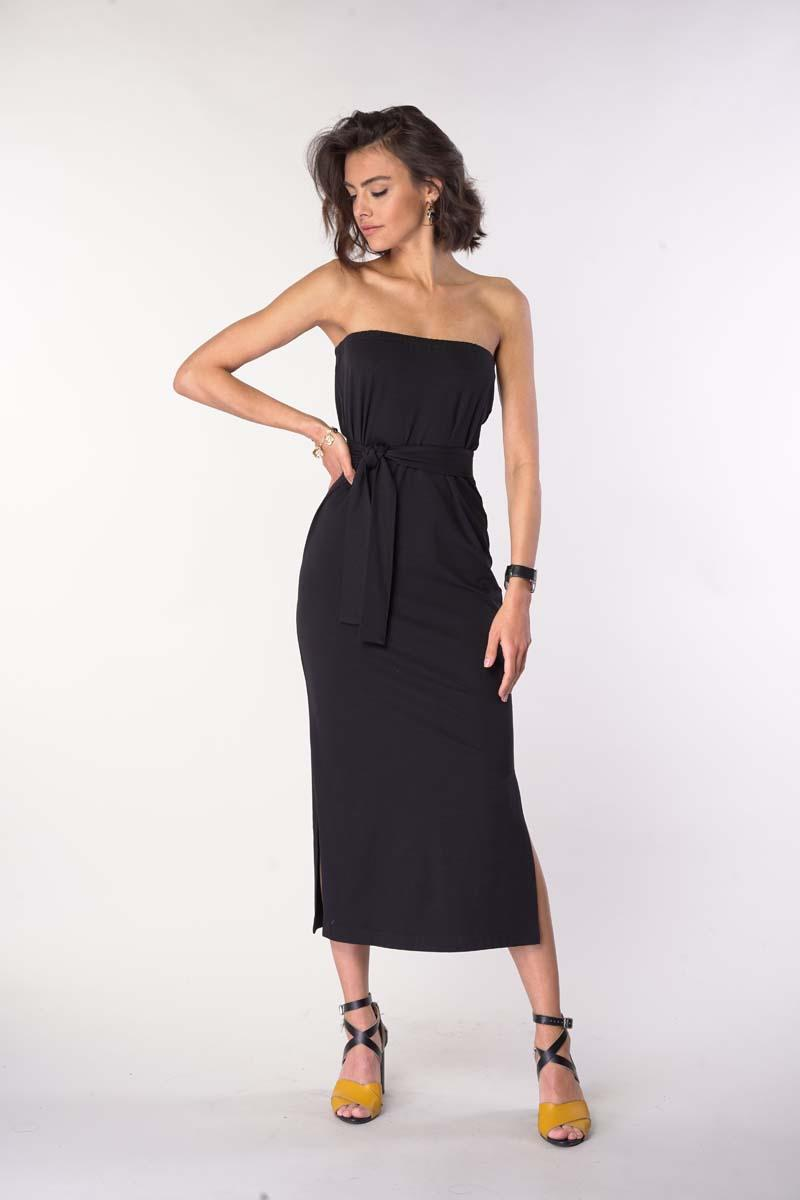 Black Simple Midi Dress With Open Shoulders