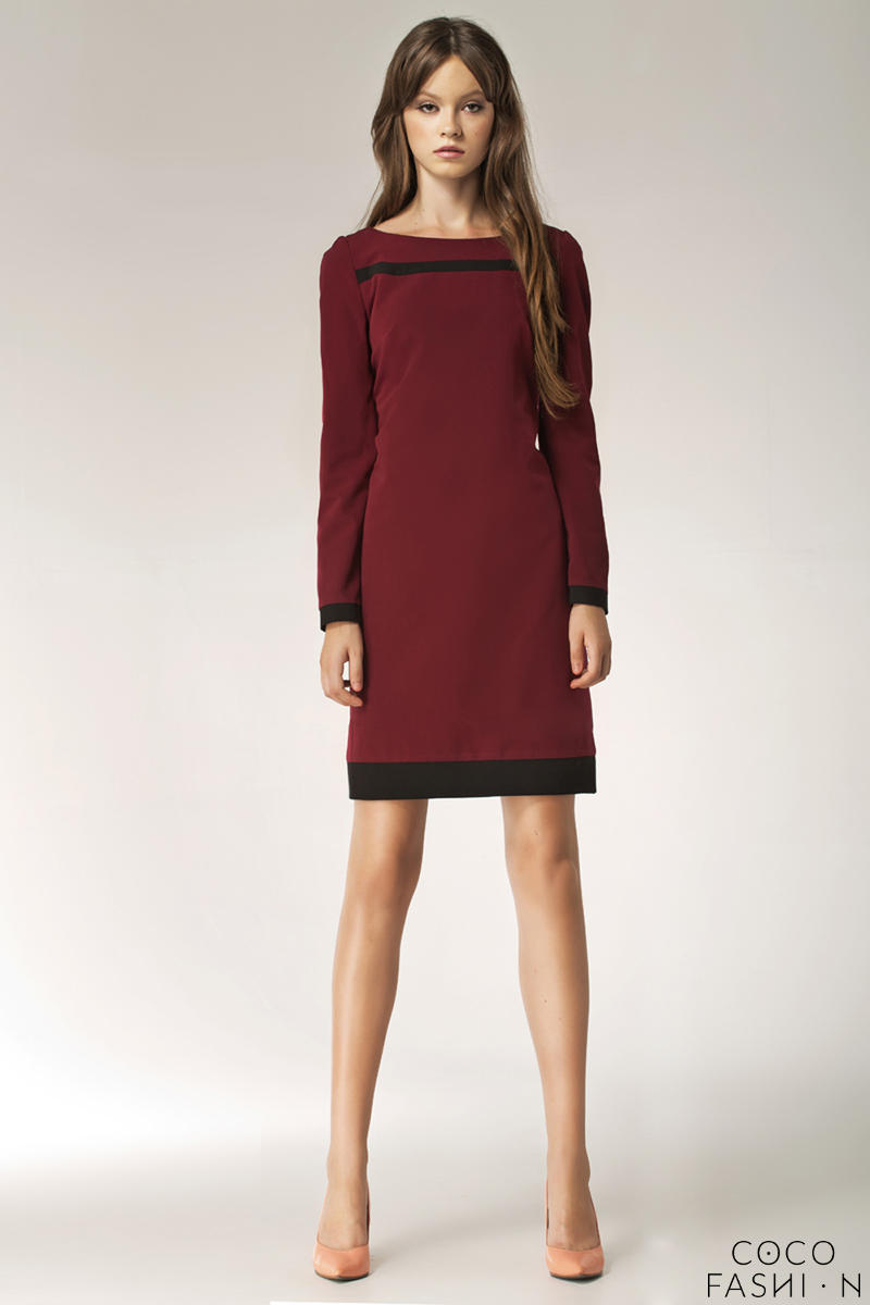 maroon-stylish-sunken-office-shift-dress