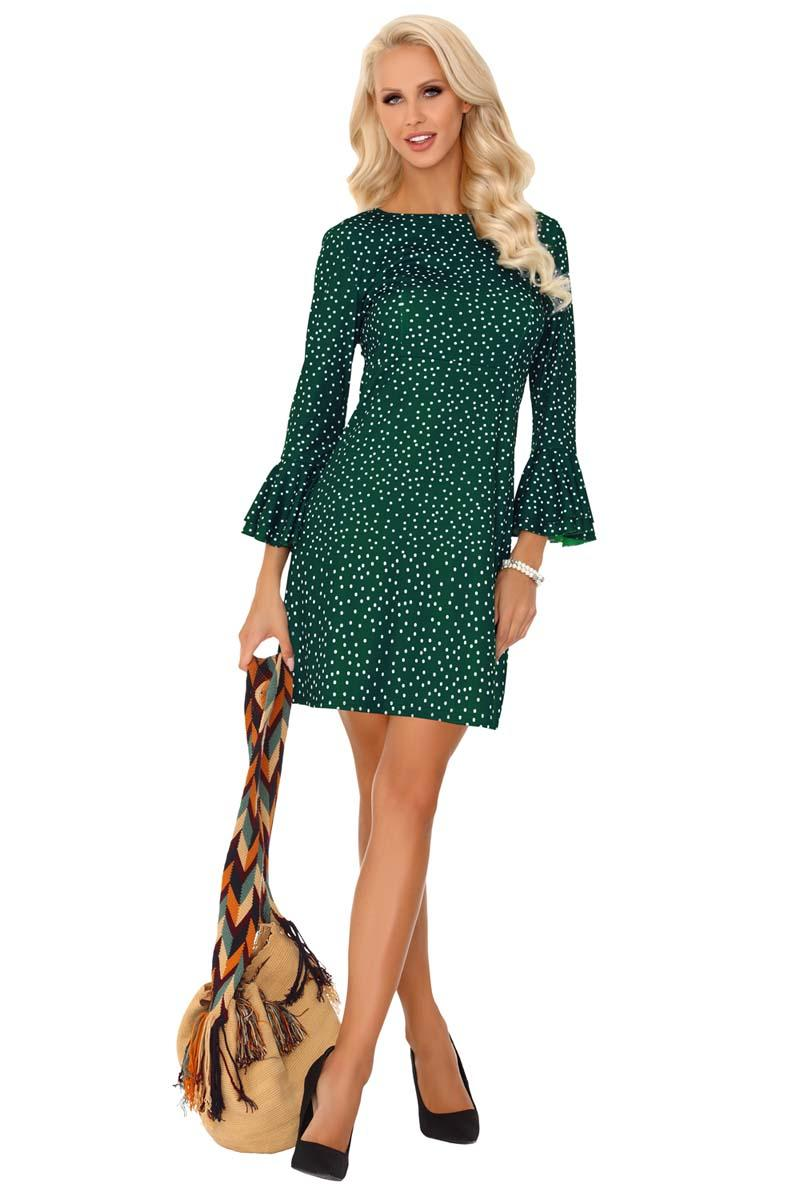 Mini Green Dress Dotted With Frills