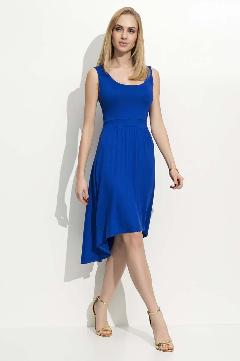Blue Round Neckline Asymetrical Dress