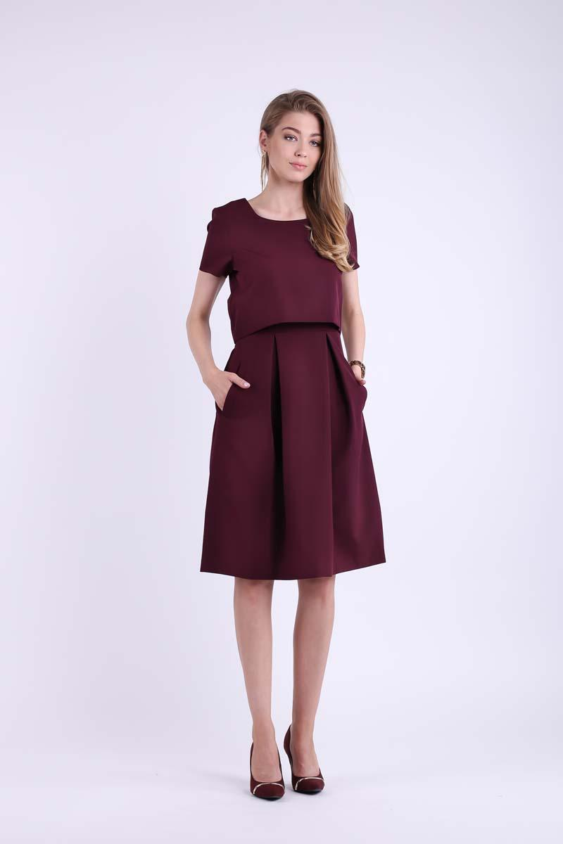 Burgundy Formal Flared Dress with Overlay