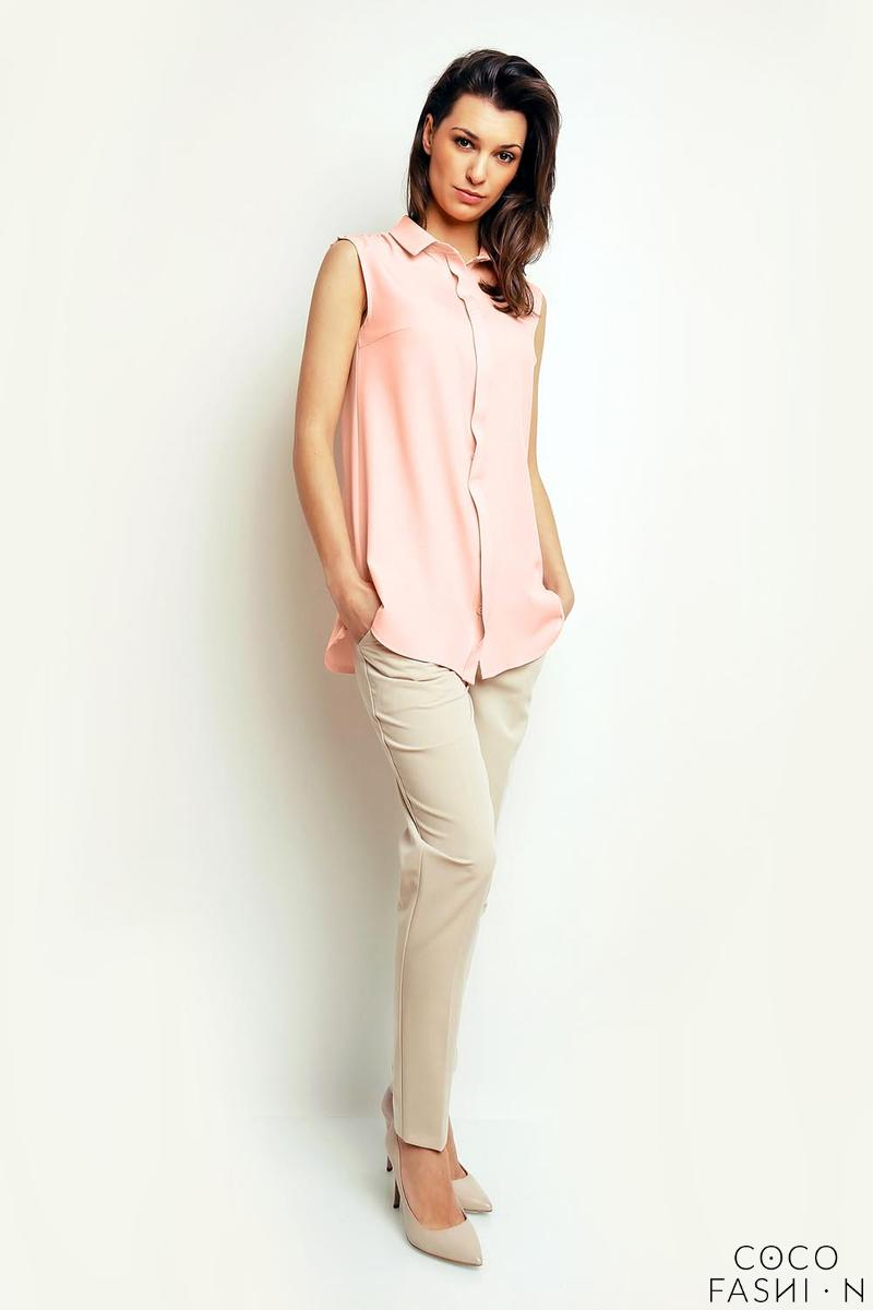 Salmon Pink Sleeveless Summer Shirt