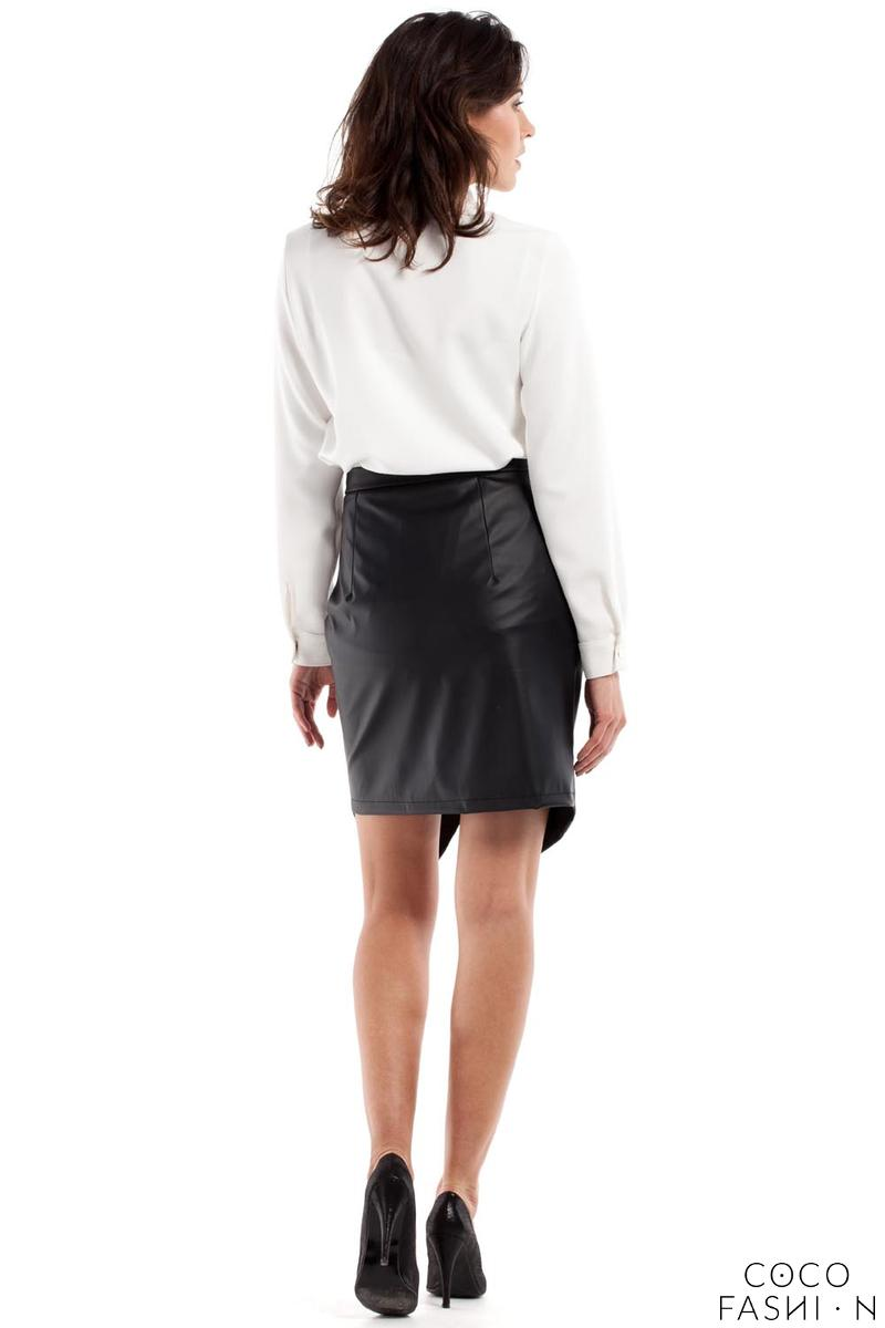 black pencil asymmetrical mini skirt