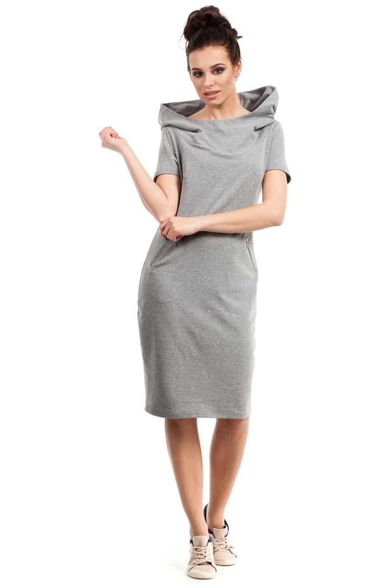 Grey Sport Style Hooded Midi Dress