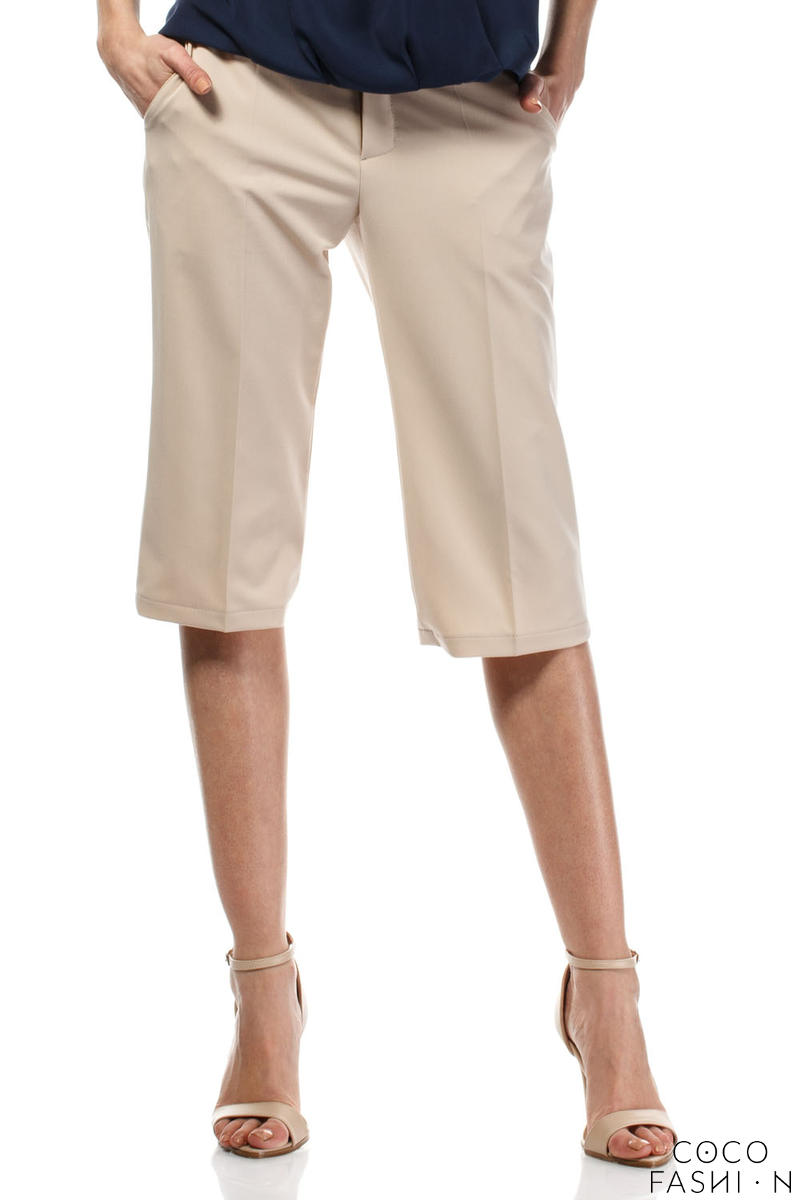 Beige Wide Cut Leg Cropped Length Loose Fit Pants