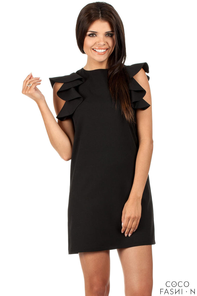 black-high-neck-shift-dress-with-waterfall-shoulders