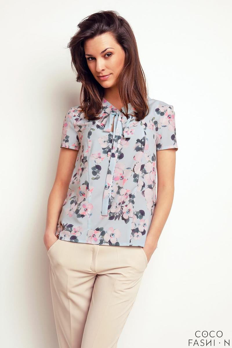Floral Self Tie Bow Short Sleeves Blouse