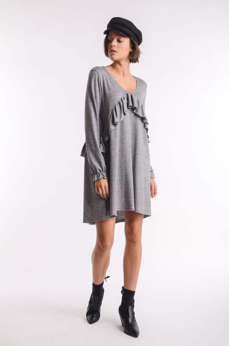 Gray Knitted Dress with Asymmetrical Frill