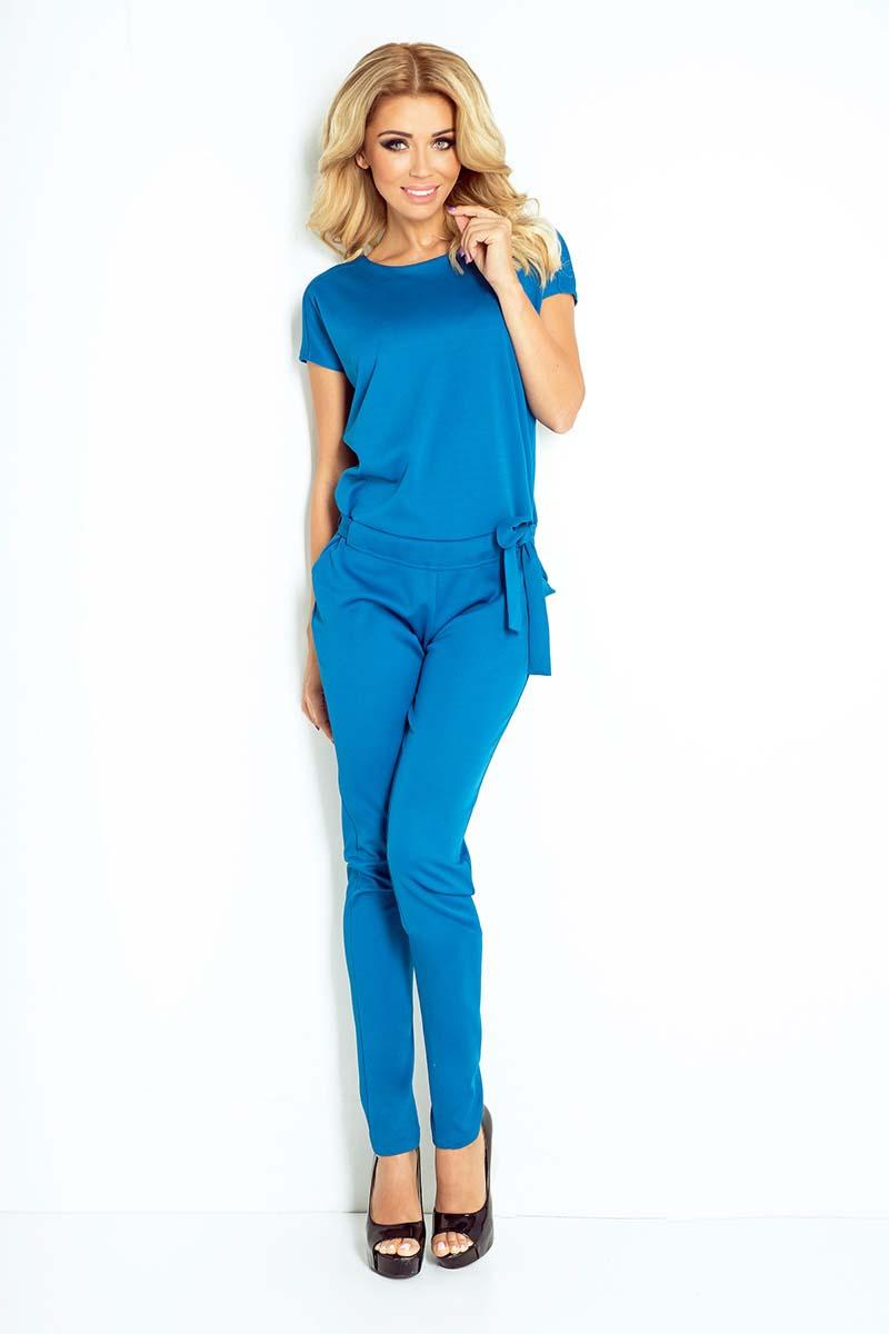 Blue Open Back Elegant Ladies Jumpsuit