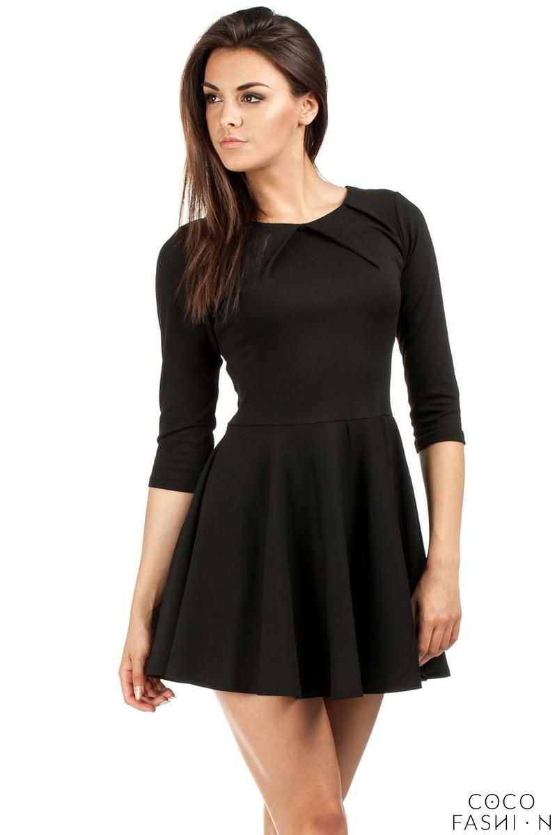 Black Pleated Neckline Flippy Dress