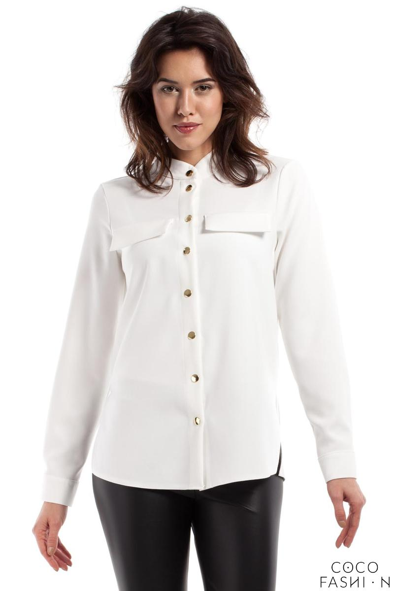 Ecru Stand-up Collar Casual Shirt