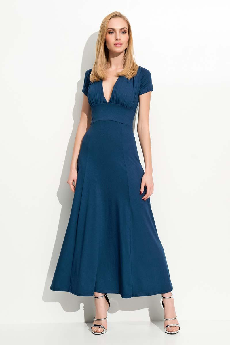 Dark Blue Maxi Long Deep Neckline Dress
