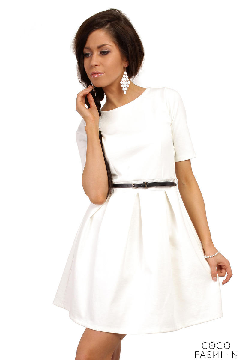 White Magnanimous Modern Belted Tea-length Dress