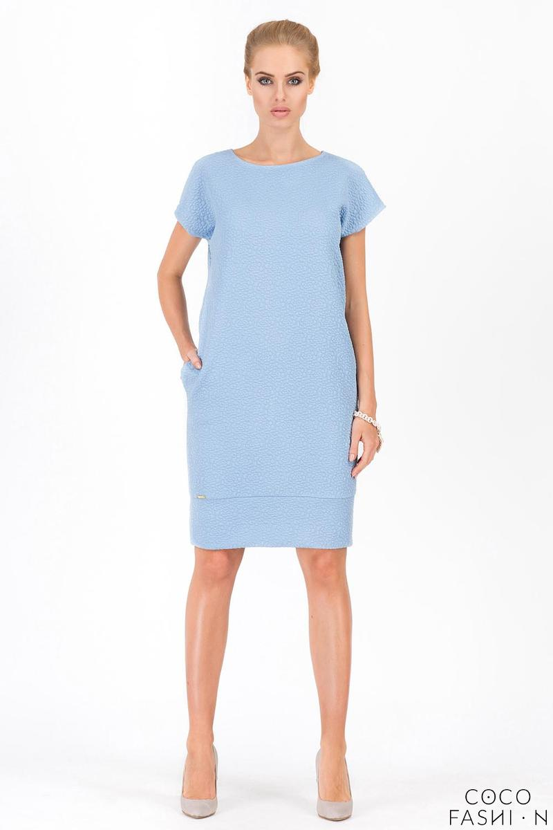 Light Blue Jacquard Patern Shorts Sleeves Knee Lenght Dress