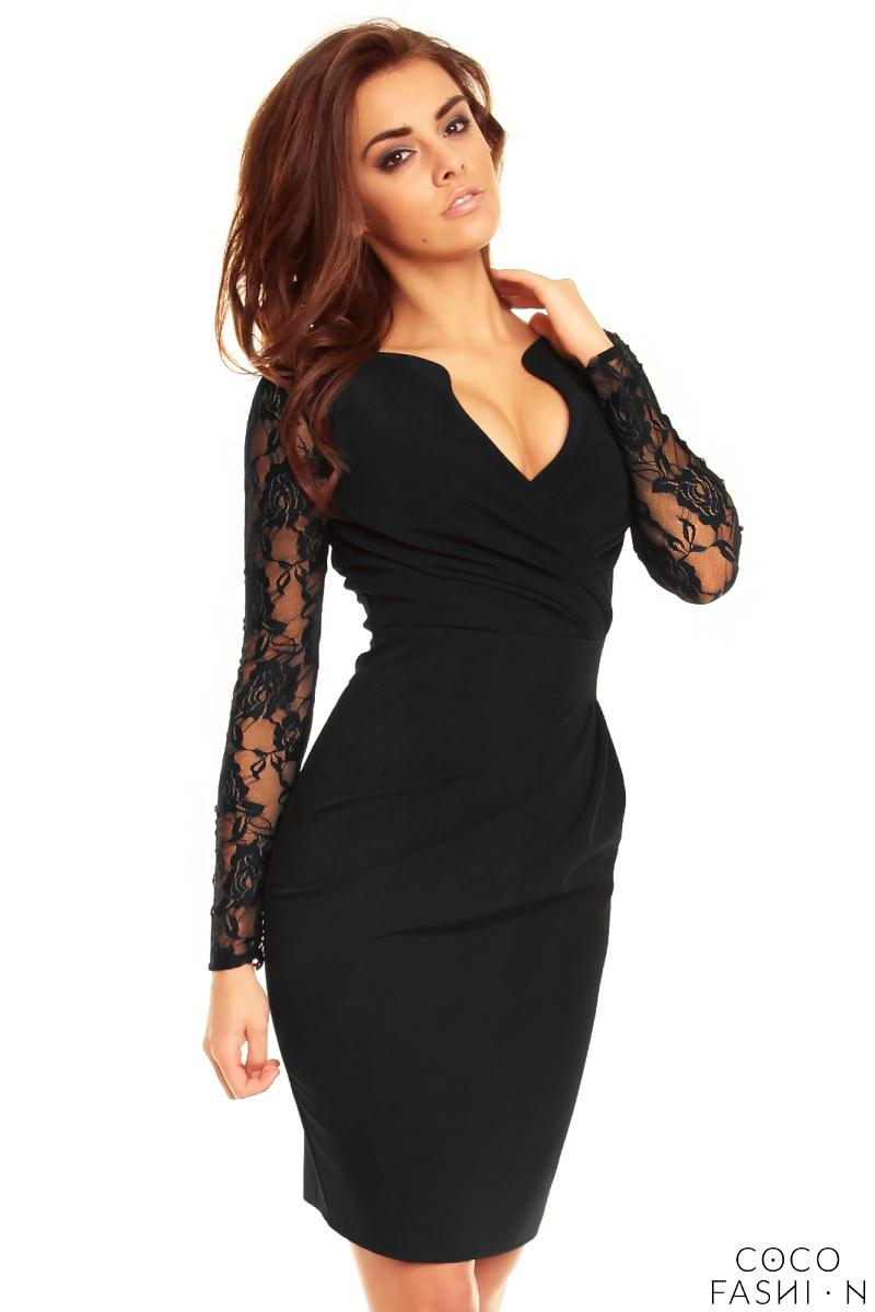Black Elegant Lace Sleeves Slim Waist Evening Dress