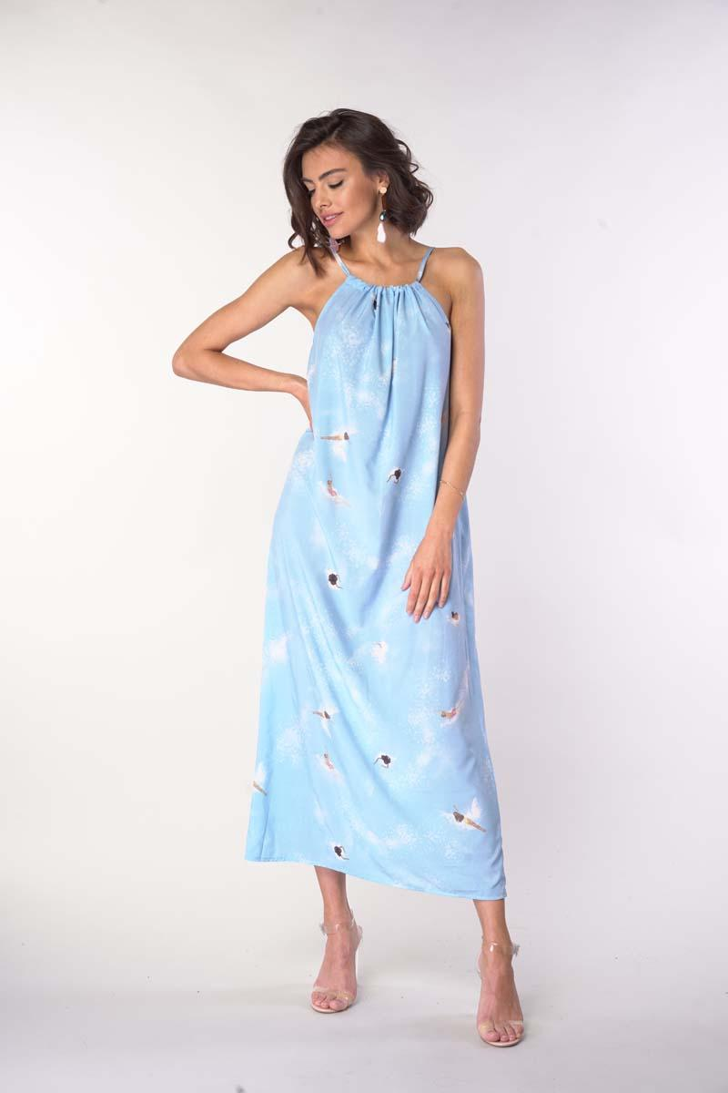 Long Summer Dress with Tied Straps - Blue