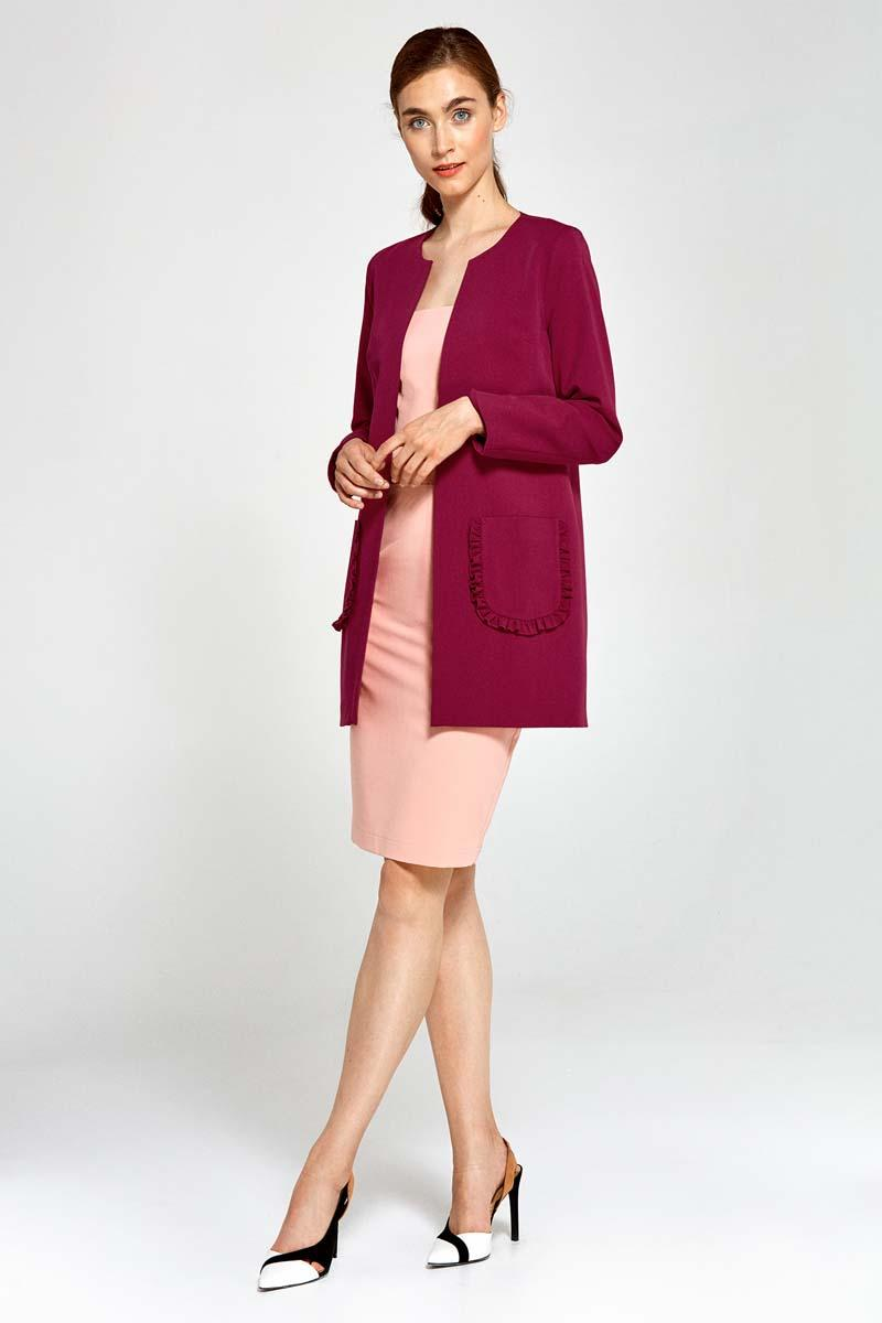 Maroon Long Ladies Blazer with Frills around Pockets