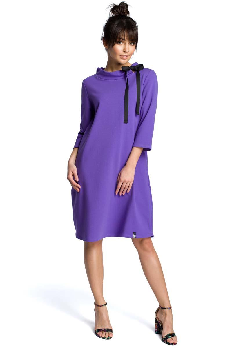 Purple Flared Dress with a Bow