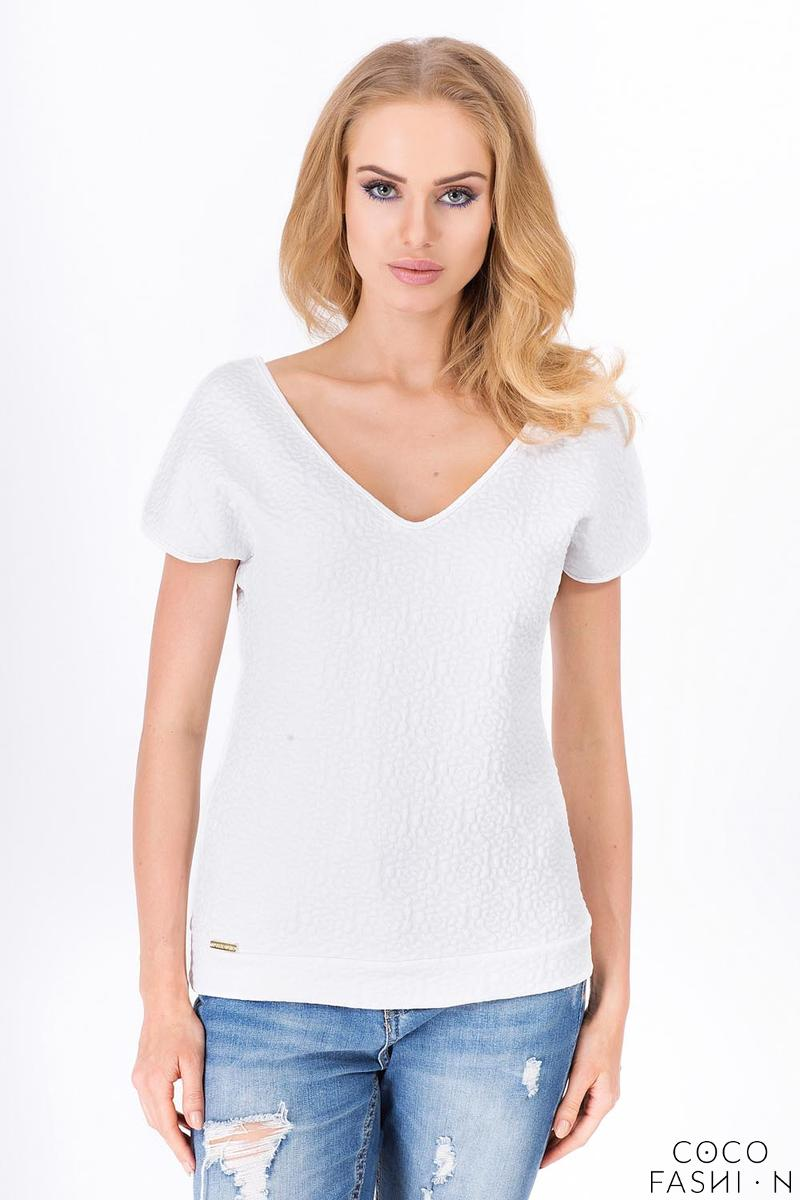 White Classic V-Neck Patterned Fabric T-shirt от cocofashion