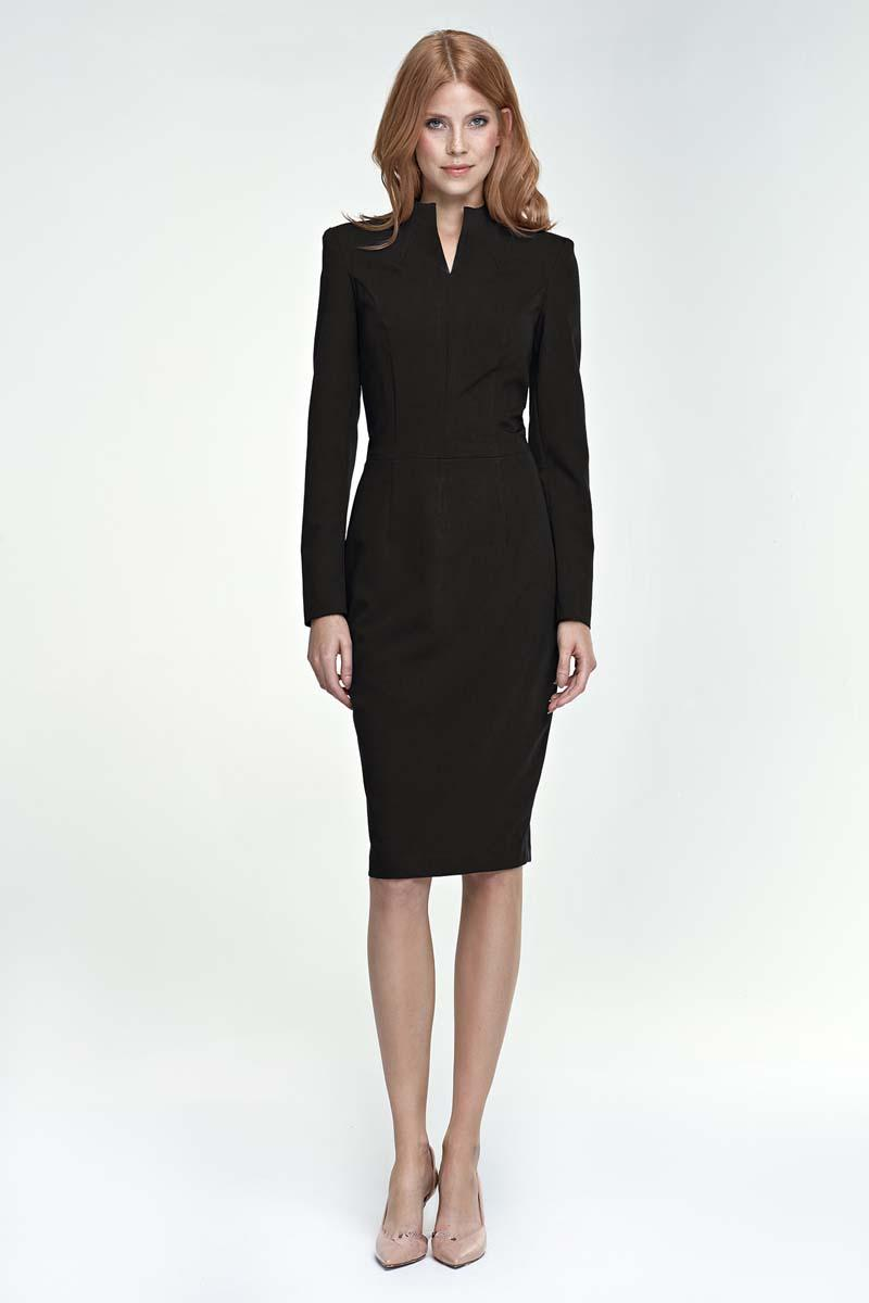 Black Elegant Pencil Dress with Stand-up Collar