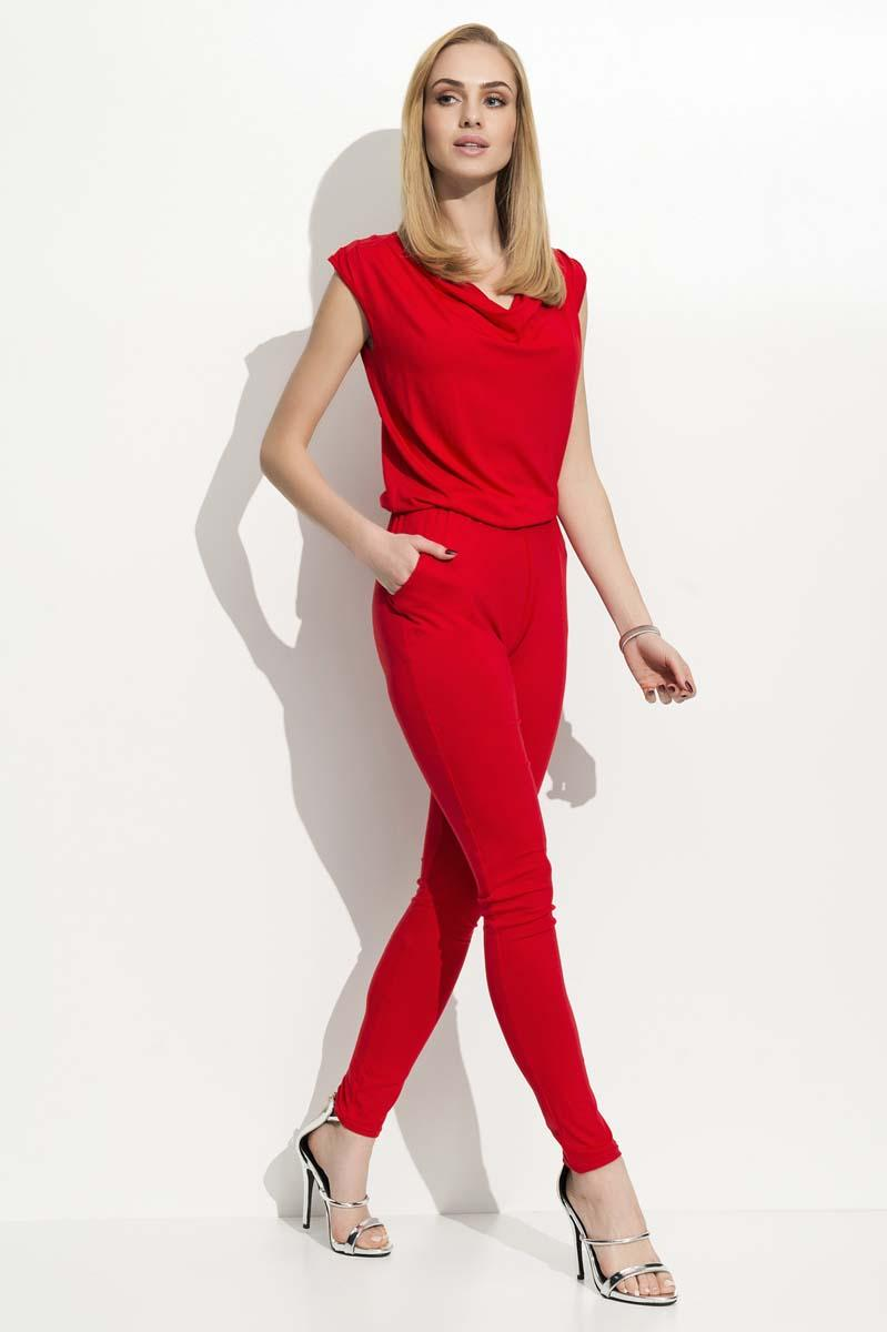 Red Long Slim Legs Ladies Jumpsuit