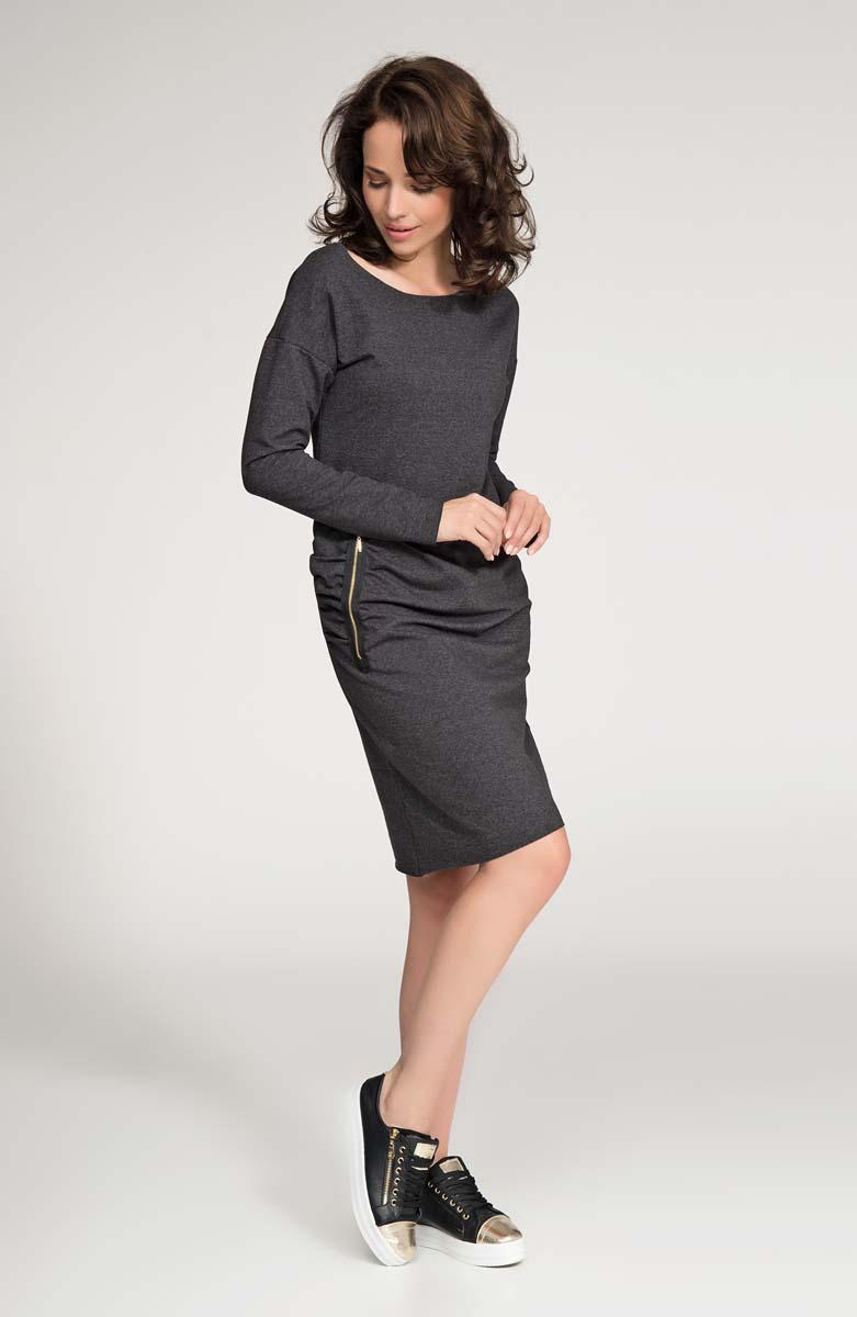 Dark Grey Casual Dress with Zippers