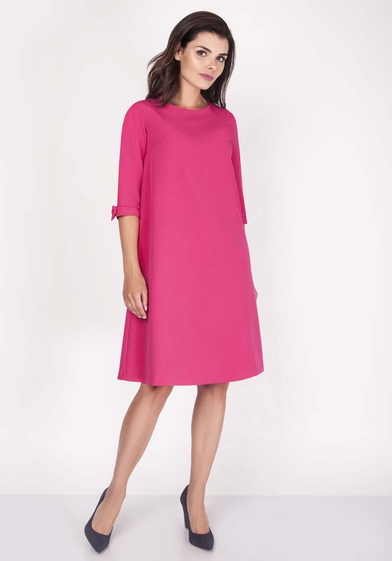 Pink Trapezoid Dress Mini with Lovely Bows