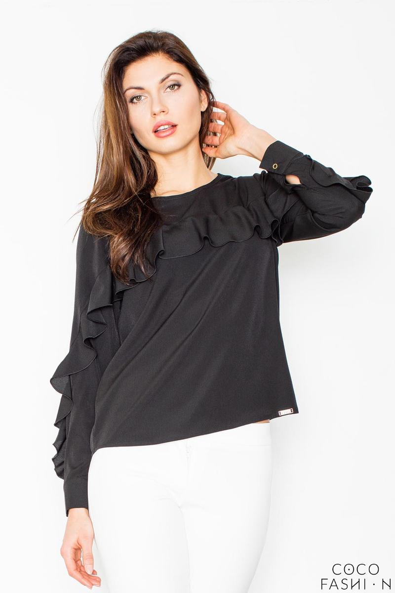 Black Long Sleeves Blouse with a Frill