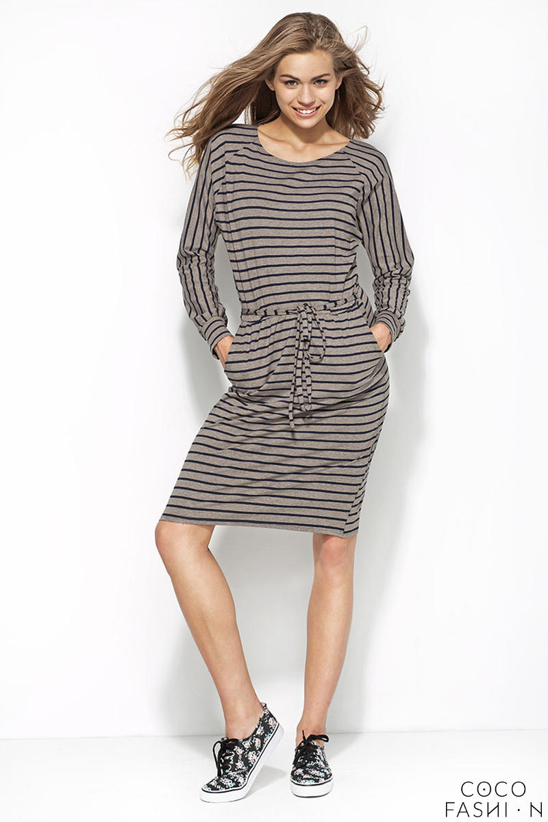 Grey and Navy Blue Striped Shirt Dress with Draw String Waist от cocofashion