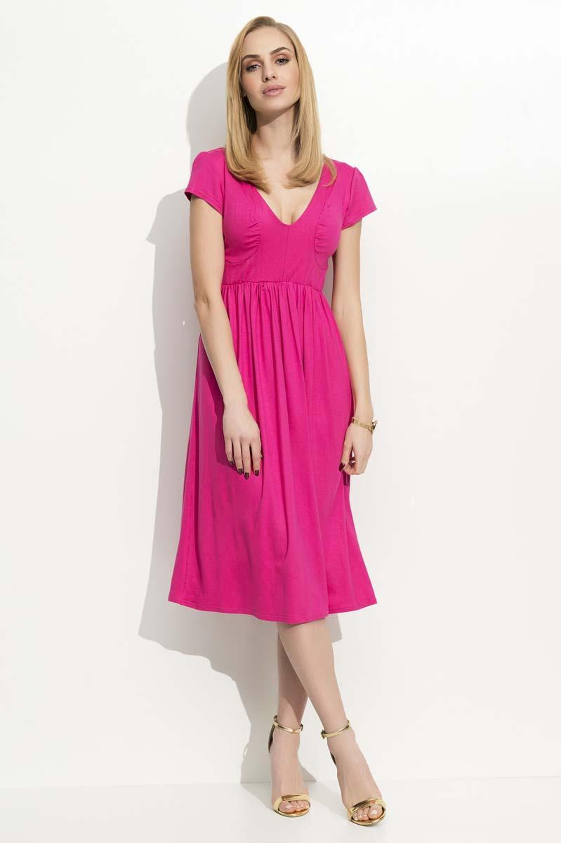 Fuchsia Wrinkled Midi Dress
