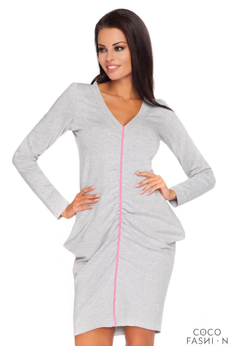 Light Grey Wrinkled Contrasting Detail Dress от cocofashion