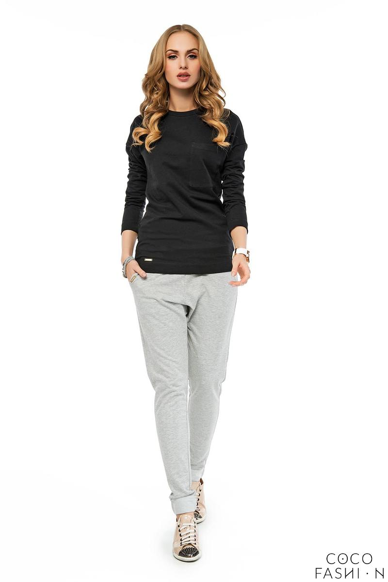 Black Plain Classic Long Sleeved Blouse with Pocket