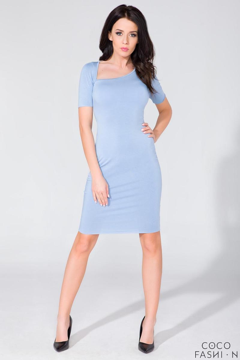 Light Blue Asymetrical Neckline Tube Dress