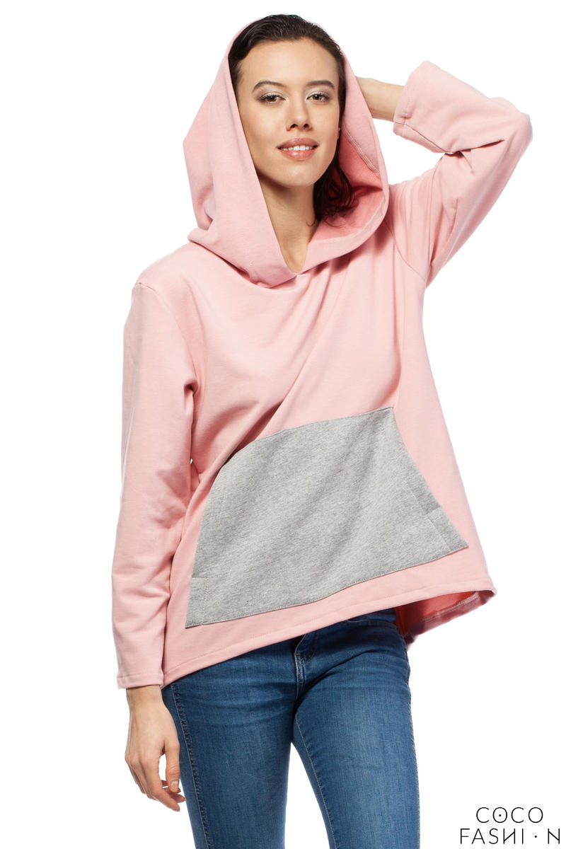 Pinky Oversized Hooded Sweatshirt with Contrast Kangaroo Pocket