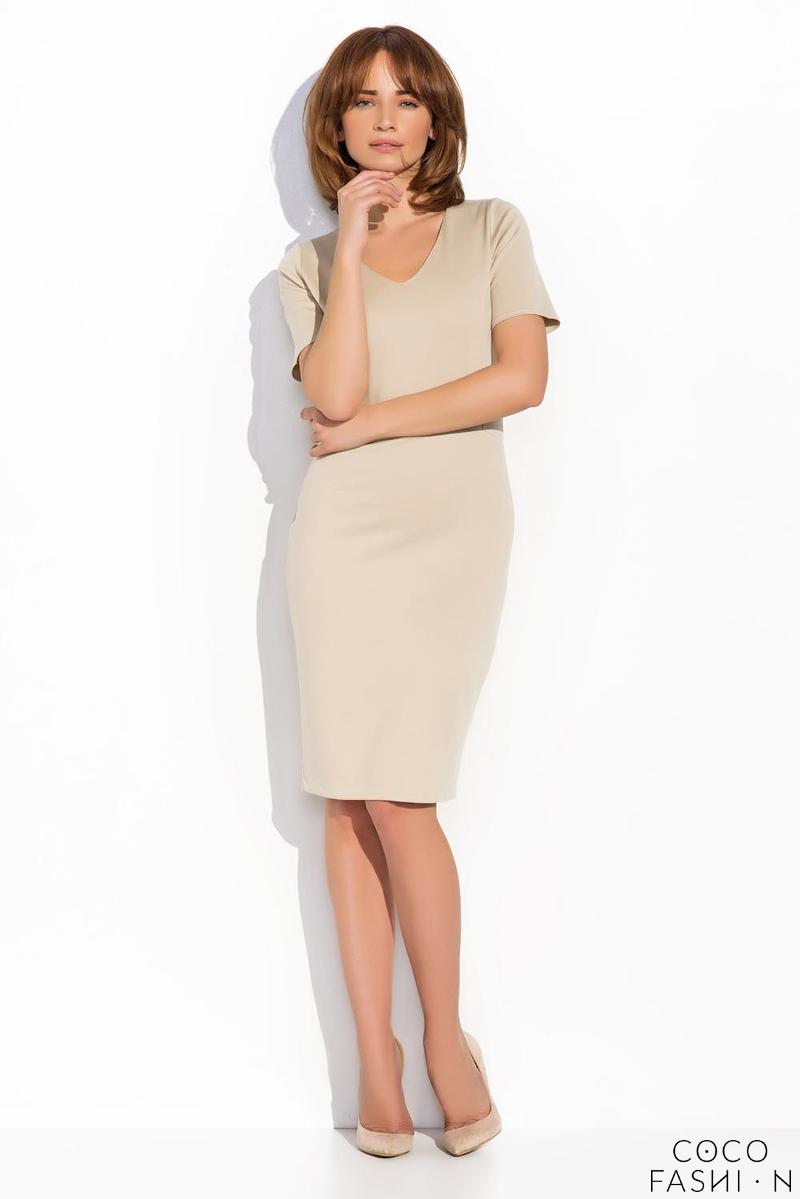Beige Classic Bodycon Fit V-Neckline Dress