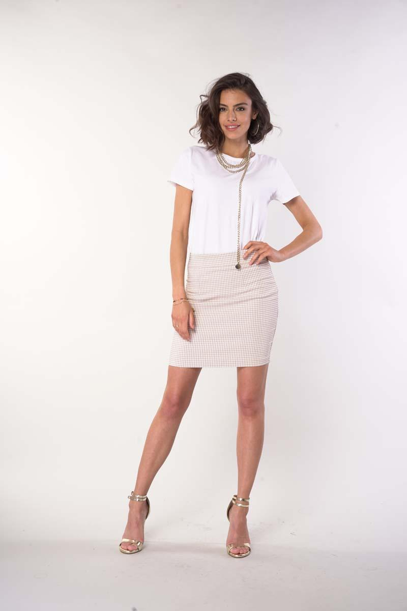 Pencil Short Skirt with a Fine Check - Beige