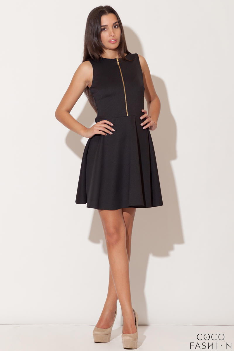Black Light Hearted Sleeveless Flare Date Dress