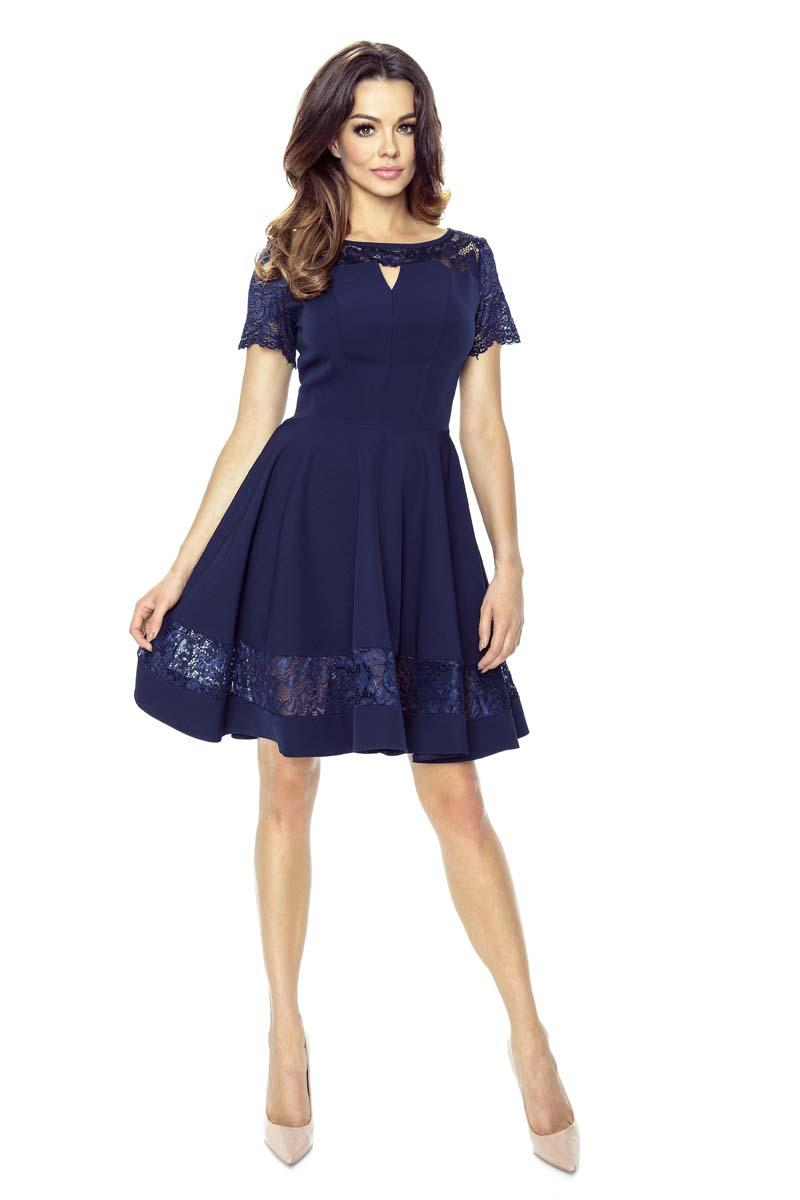 Dark Blue Coctail Dress with Lace