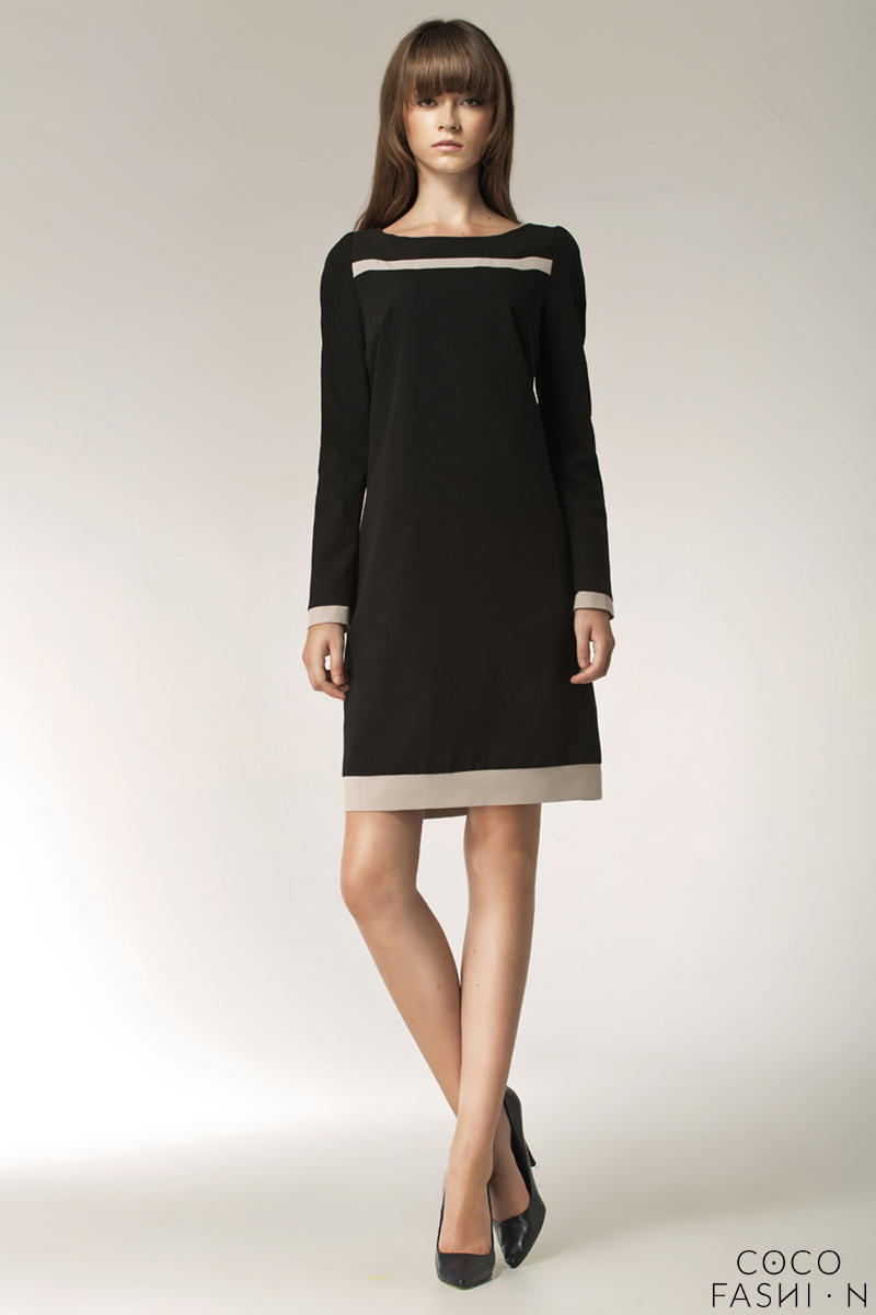 Black Stylish Sunken Office Shift Dress