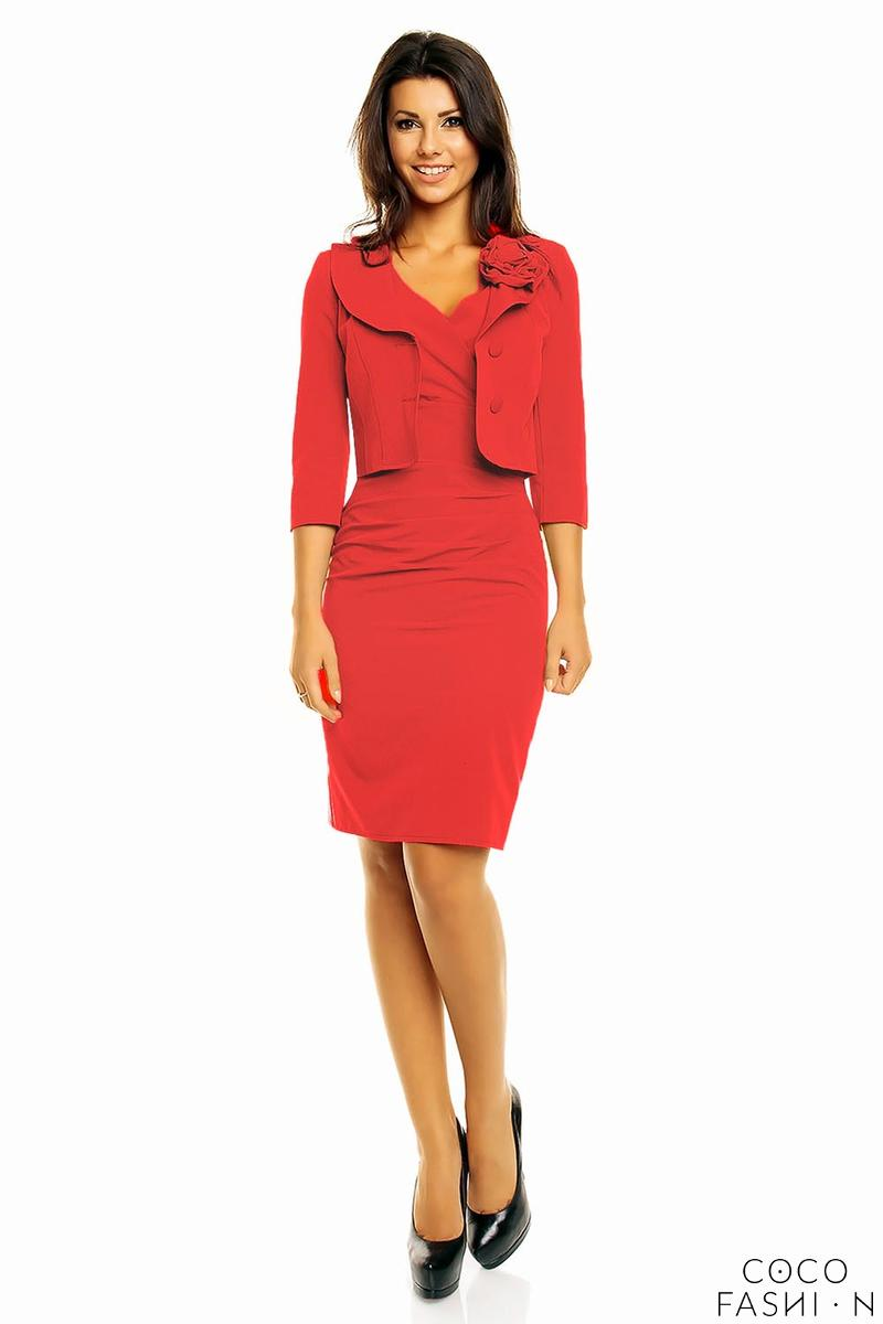 Red Elegant Set Fitted Dress and Short Jacket with Flower