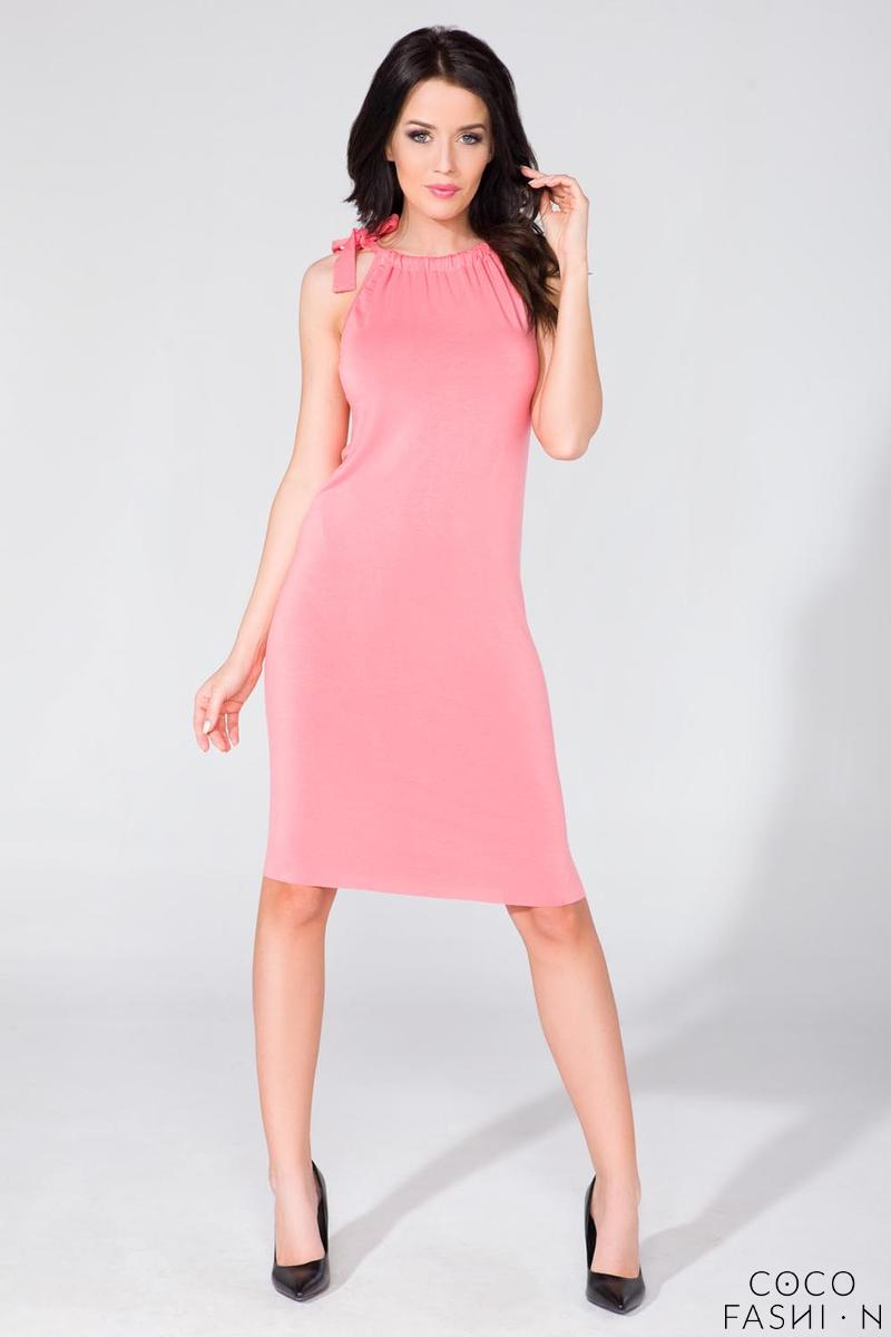 Pink Fitted Summer Wrinkled Neckline Dress
