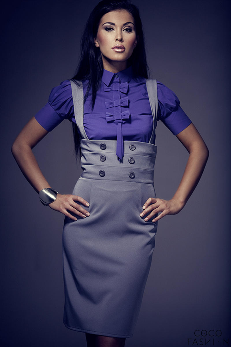 Dark Purple Collared Blouse with Bow Details and Pleated Cap Sleeves