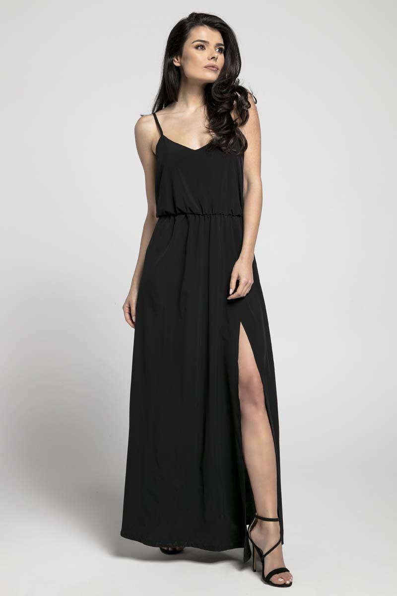 Airy Black Maxi Dress on Thin Straps with a Slit
