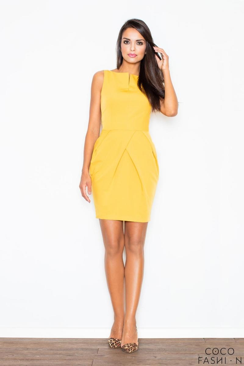 Yellow Sleeveless Coctail Chic Dress