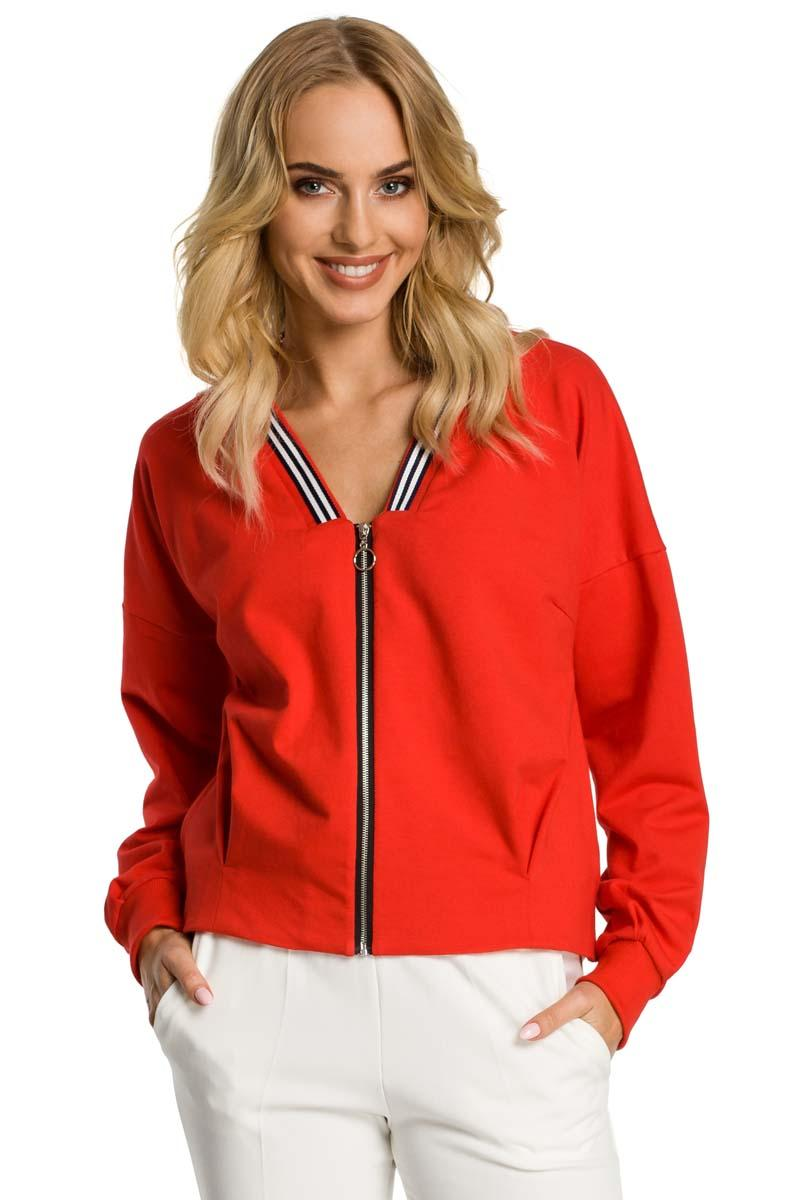 Red Bomber Jacket Fastened with Silver Zipper